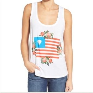 Wildfox Granny Flag and Floral Tank Sm NWT